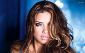 brunette, Adriana Lima, face, model, blue eyes, girl