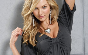 model, cleavage, Candice Swanepoel, necklace, girl, blue eyes