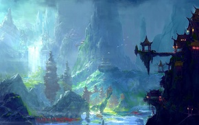 Asian architecture, oriental, fantasy art