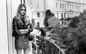 girl, monochrome, model, Cara Delevingne