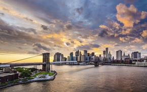 sunset, sky, cityscape, city, Brooklyn Bridge, clouds