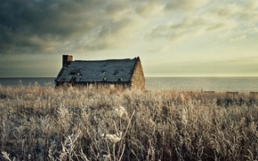 winter, sea, coast, nature, building, landscape