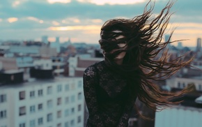 city, wind, brunette, long hair, see, through clothing