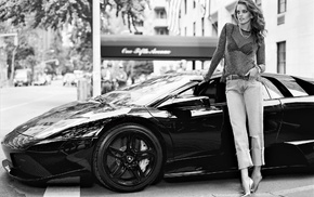 monochrome, car, Emily DiDonato, model
