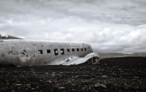 landscape, airplane, Slheimasandur, Iceland, wreck, crash