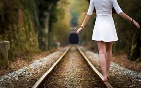 dress, barefoot, depth of field, girl, white dress, girl outdoors