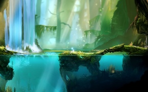 swamp, fantasy art, underwater, trees, mist, sunlight