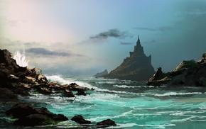 fantasy art, sea, drawing, castle, waves, clouds
