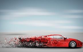 artwork, clouds, red cars, horizon, pixelated, Ferrari