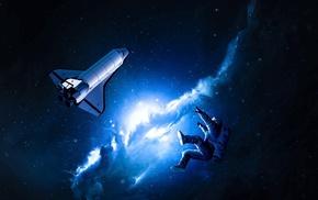blue, space art, space, stars, space shuttle, nebula