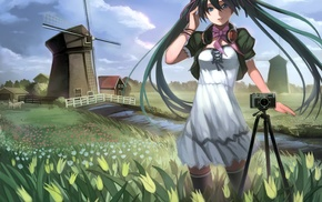 camera, windmills, headphones, Hatsune Miku, Vocaloid