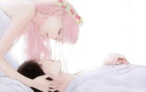pink hair, flowers, brunette, simple background, closed eyes, bangs