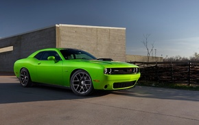 Dodge Challenger Hellcat, Dodge Challenger RT, car, vehicle, green cars