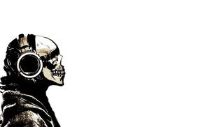 skull, headphones, monochrome, white background, digital art