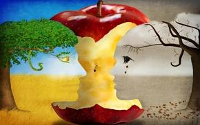 optical illusion, men, fall, leaves, eyes, fruit