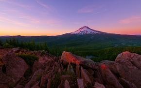 rock, mountain, clouds, hill, USA, sunset