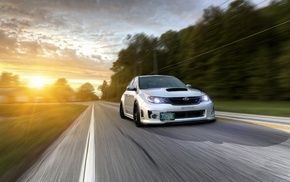 impreza, Stance, low, motion blur, sunlight, Subaru