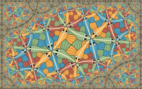 colorful, symmetry, M. C. Escher, optical illusion, fish, drawing