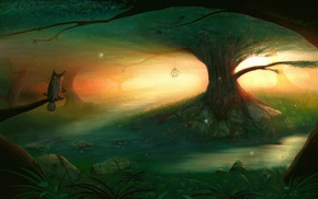 fantasy art, nets, plants, river, digital art, forest
