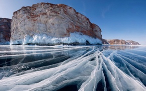 ice, lake, cliff, landscape, Lake Baikal, nature