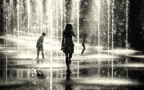 rain, people, girl
