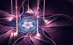 digital art, abstract, glowing, fractal flowers, purple, fractal