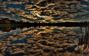 trees, sunset, clouds, nature, water, HDR