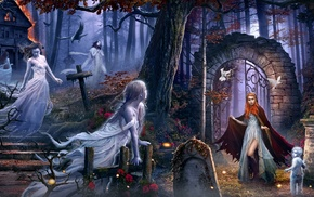 cemetery, girl, dark, trees, branch, fantasy art