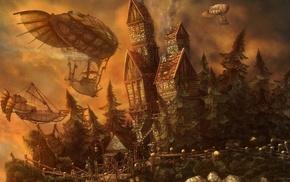 fantasy art, nature, orange, digital art, artwork, castle