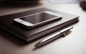 technology, notebooks, monochrome, phone, pencils, cellphone
