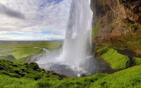 waterfall, nature, Iceland, landscape