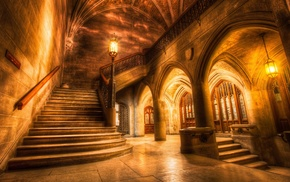 history, USA, staircase, lights, old building, architecture