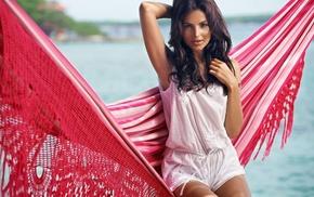 netted, girl, brunette, hammocks, Diana Morales, model