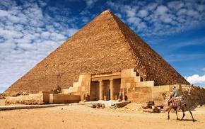 sand, photo manipulation, columns, nature, pyramid, stones