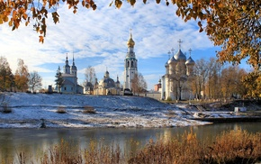 landscape, snow, church, river, Russia, nature