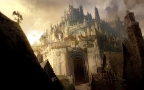 concept art, video games, artwork, anime, Guild Wars, castle