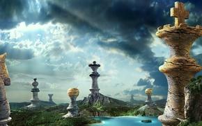 water, hill, sunlight, landscape, king, pawns