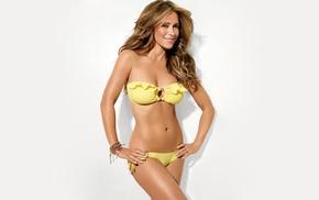 natural boobs, brunette, simple background, actress, Jennifer Love Hewitt, bikini
