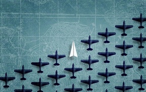 paper planes, map, digital art, blue background, airplane, aircraft
