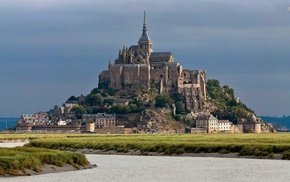 France, landscape, Mont Saint, Michel, church, building