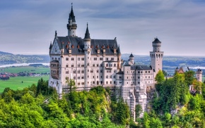 landscape, castle, Neuschwanstein Castle, trees, Germany, HDR