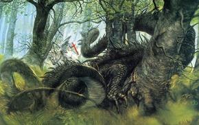 crusaders, drawing, John Howe, dragon, fantasy art, knights