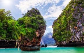 sea, boat, island, coast, landscape, nature