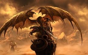 dragon, fantasy art, drawing, warrior