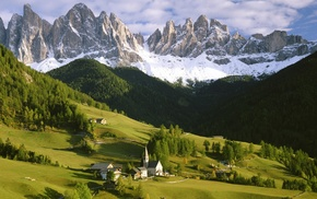 hill, forest, pine trees, mountain, nature, church