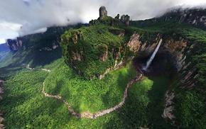 waterfall, landscape, nature