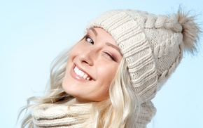 woolly hat, girl, smiling, winking