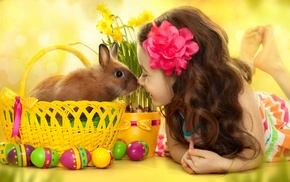 barefoot, children, rabbits, Easter, daffodils, baskets