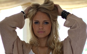 blonde, blue eyes, model, looking at viewer, girl, hands on head