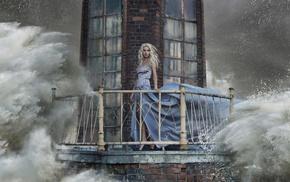 sea, high heels, looking at viewer, girl, long hair, blonde